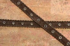 "7/8"" Faux Suede Eyelet Trim - Brown"