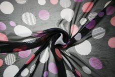 Jumbo Polkadot Chiffon - Black & Pink
