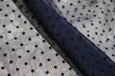 Flocked Dotted Swiss Chiffon - Navy