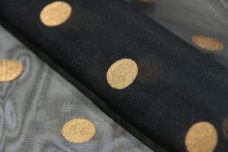 Large Polkadot Organdy - Black & Gold