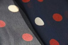 Medium Polkadot Chiffon - Navy & Rust