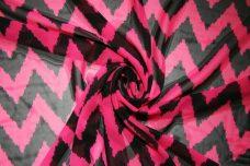 Large Grunge Chevron Chiffon - Hot Pink & Black