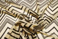 Various Chevron Chiffon - Black & Beige