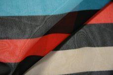 Large Stripe Chiffon - Chartreuse & Aquamarine