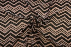 Dry brush Chevron Chiffon - Beige & Black