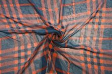Plaid Chiffon - Navy & Orange