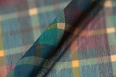 Plaid Crinkle Chiffon - Teal & Raisin
