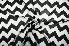 Large Chevron Chiffon - Black & White