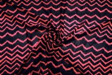 Grunge Wave Chiffon - Neon Coral & Navy