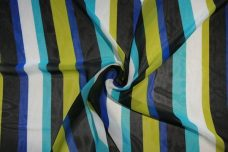 Various Stripe Chiffon - Chartreuse & Royal
