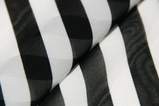 "1/2"" Stripe Chiffon - Black & White"