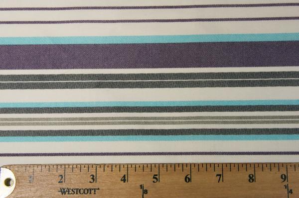 Lightweight Poly/Cotton Stripe - Purple & Turquoise